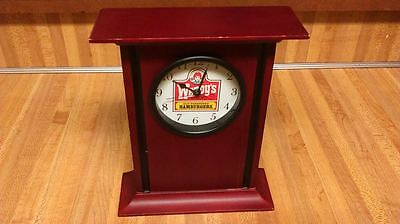 Wendy's Old Fashioned Hamburgers Wooden Mantle Clock,works great,vg!