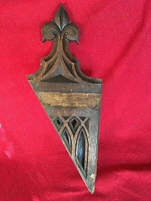Antique Carved Victorian Black Forest Style Church Pediment Element Corbel