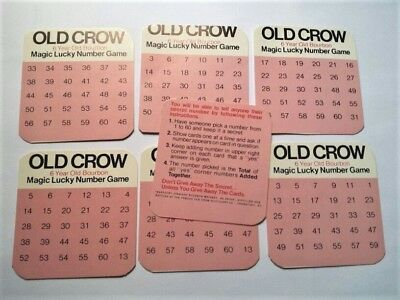Vintage Old Crow Bourbon Magic Lucky Number Game Cards Instructions Frankfort Ky