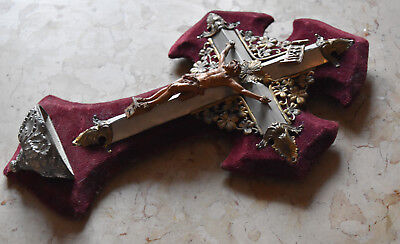 antique French crucifix ,holy water font made 19 th century