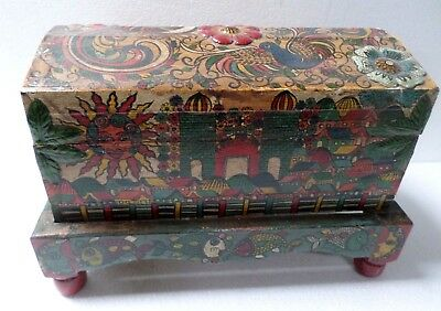 "Mexican Folk Art 17"" Wood Chest Baul Box Spanish Colonial Painted Church Village"