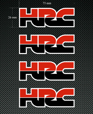 4 x HONDA HRC Logo Stickers/Decals - 75mm Red & Black - Printed and Laminated