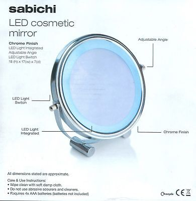 Sabichi LED Cosmetic Round Mirror With Chrome Finish Makeup Magnifying Vanity