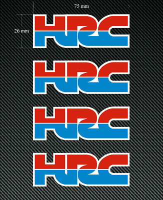 4 x HONDA HRC Logo 75mm Stickers/Decals - Red & Blue - Printed and Laminated