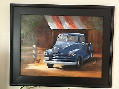 """Grampa's Truck"", original oil painting signed, 16x20 inch, FREE Shipping"