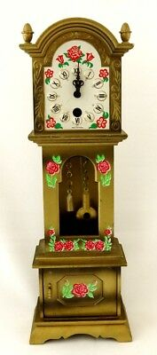 Miniature Shelf Mantel Grandfather Clock Floral Design Germany Movement Wind Up
