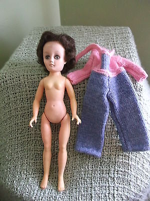 """Vintage 14"""" 1950s Vinyl Doll  with 3 pc knitted outfit  15 Bal HH Belle Doll Co"""