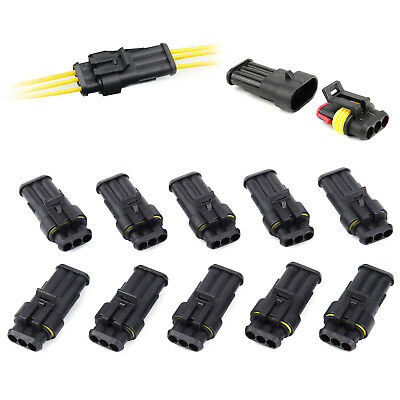 10X Superseal Waterproof Electrical Wiring Connector Kits 3 Way Pins Car Boat