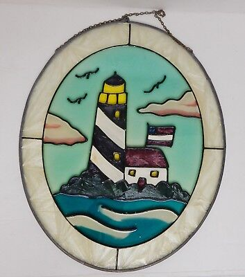 "Vintage Stained Glass Wall Window Panel Hand Painted Lighthouse Nautical 11""x9"""