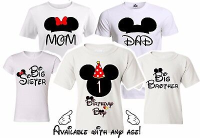 Mickey Birthday Family Matching T-shirts. Disney Vacation White party shirts.