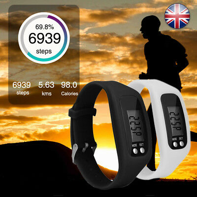 LCD Pedometer Run Step Walking Distance Calorie Counter Wrist Watch UK STOCK
