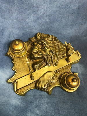 Antique Ornate Fine Cast Bronze or Brass Roaring Lion Double Inkwell Pen Stand
