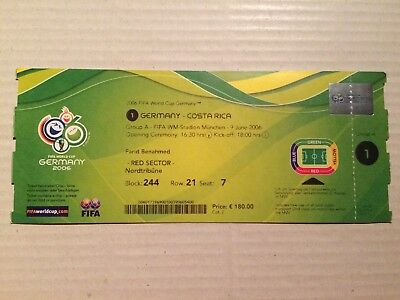 Used Ticket FIFA World Cup 2006 #01 Germany Costa Rica Deutschland DFB