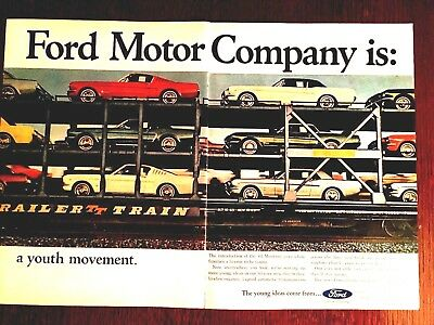"""1965 Ford Mustang Stangs On A Train-Original Print Ad 2 Page-8.5 x 10.5"""""""