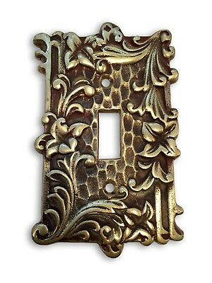 VINTAGE Floral Lillies SOLID BRASS Switch Plate Cover