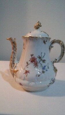 Vintage Porcelain Limoges France Covered Teapot with Flowers and Gold Trimmed