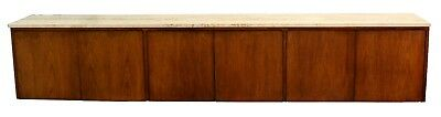Mid Century Modern Large 9' Floating Walnut Credenza Travertine Knoll Probber