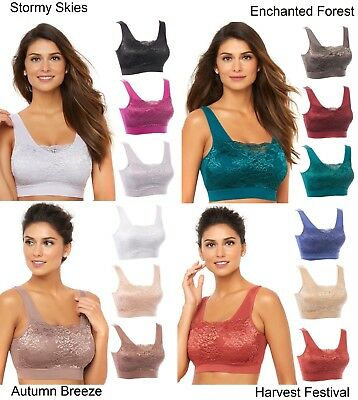 3456a99887 RHONDA SHEAR LACE Overlay 3-pack Bra with Removable Pads (HSN 557604 ...
