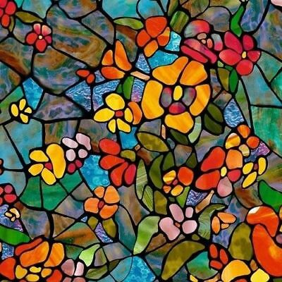 2m X 45cm SELF ADHESIVE RED BLUE STAINED GLASS FLOWER WINDOW STICKY BACK PLASTIC