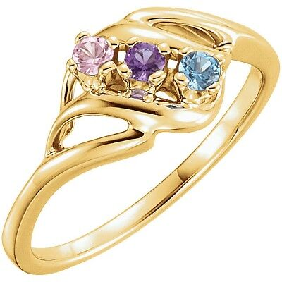 Made to Order 14K Yellow Gold Mother's Ring Crystal Birthstones  1-5 Stones
