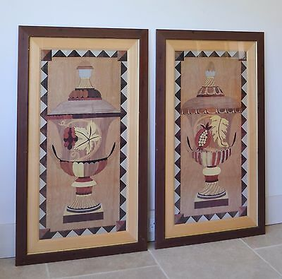 A Pair of Large Framed Vintage Wood Marquetry Inlaid Pictures of Urn Vases