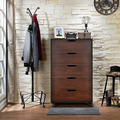 Furniture of America Aurville Vintage Walnut 5-Spacious Drawers Rustic Chest
