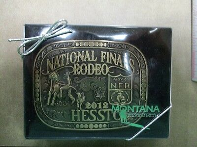 2012 Hesston Brass Adult Belt Buckle National Finals Rodeo New in Box!!