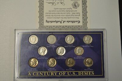 A Century of U.S. Dimes - (Some 90% Silver)