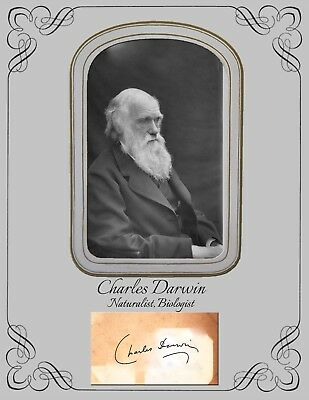 Charles Darwin, Naturalist, Biologist COPY of Photo and autograph card