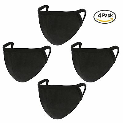 4 Pack Face Mask Mouth Cover Soft Anti Dust Cotton Unisex Outdoor Sports Black