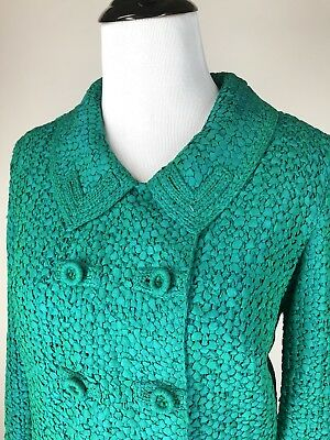 Chic! VTG 60s Ribbon Work Emerald Green Knit Day Dress Suit Pencil Skirt S M