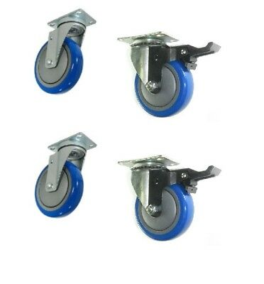 """(Pack of 4) Plate Casters with 3.5"""" Blue Non-Marking Wheel 2 With Brakes"""