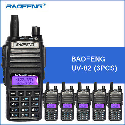6PCS Baofeng UV-82 Dual Band Two-Way Radio 136-174MHz VHF & 400-520MHz UHF Black