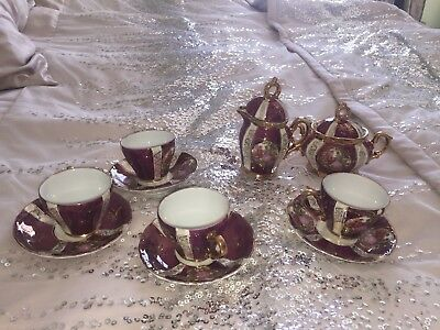 Antique vintage Sterling Japan Courting Couple Burgundy White Gold swirl Tea Set