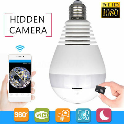 HD 1080P WiFi Wireless 360° Panoramic Fisheye Hidden Bulb Light Spy Camera Lamp