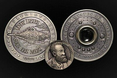 Hobo Nickel Jules Verne 20,000 Leagues Under the Sea Steampunk Coin Steve Adams