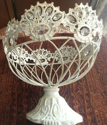 Vintage Chippy Shabby Metal Wire Fruit Plant Egg Bowl On Stand W/ Crystals Ivory