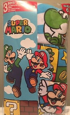 Super Mario Brothers Boys 3 Pair Briefs Size 6 New in Package