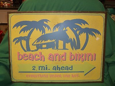 "Pottery Barn Vintage Galvanized  Metal ""Beach and Bikini"" Sign 24x19 NEW"