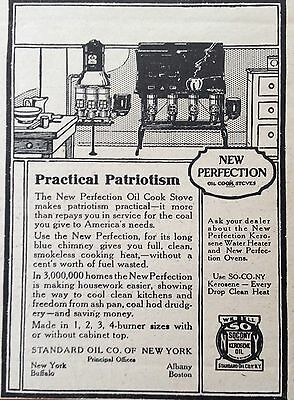 Antique 1918 Ad {Xx31)~New Perfection Stove Uses Socony Kerosene Oil