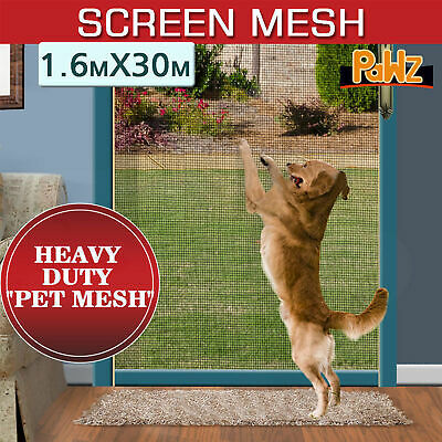 30M x 1600MM Heavy Duty Pet Mesh Paw Proof Polyester Flyscreen Flywire Extra Wid
