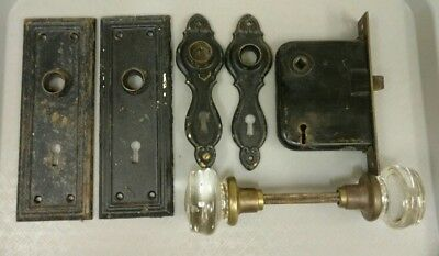 """Antique 2"""" Clear Glass Round Door Knobs 1 Set Back Plates (2 sets) Mortise Lock"""