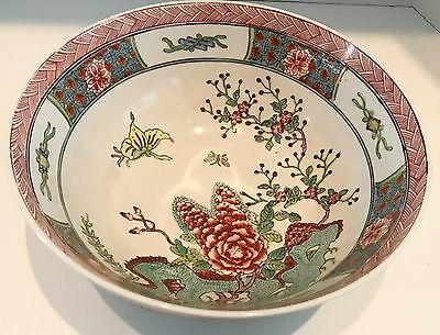"Vintage Japanese  C.F. Porcelain Ware 10"" Bowl Decorated in Hong Kong"