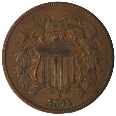 1871 2c Two Cent Piece