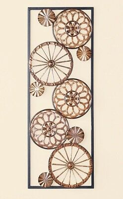 Rustic Copper Wheels and Circles Framed Metal Wall Plaque Hanging Home Decor