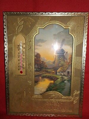 Vintage Advertising Picture & Thermometer Litho  F.J. Lorig Merrill & Wausau WI.