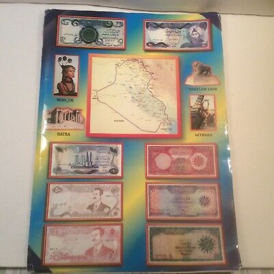 Rare Vintage Iraq Paper Money And Coins Set