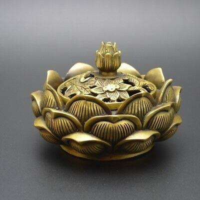 China Collectible Handwork Exquisite FENGSHUI Lotus Incense Burners Brass