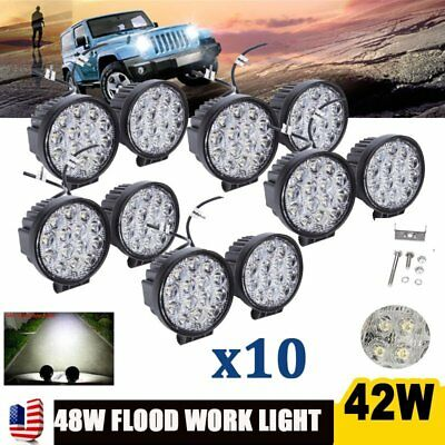 10PCS 42W Cree LED Work Light Spot Beam Driving Fog Lamp Offroad SUV 4WD SUV ATV