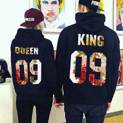 King and Queen Couple Matching Hoodies Sweatshirts Pullover Hooded Jumper Tops